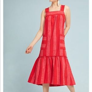 Anthropologie red tonal striped dress